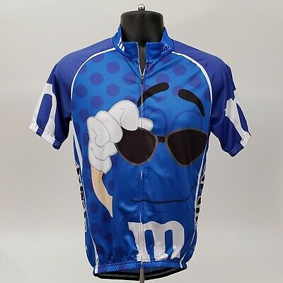 Brainstorm Gear M&M Cycling Jersey Size Large Full Zip Coolmax Shirt Blue