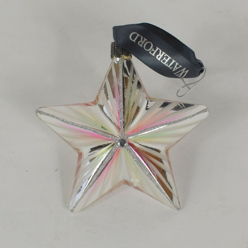 Waterford Crystal Glass Resin White Painted Star Holiday Christmas Ornament Used