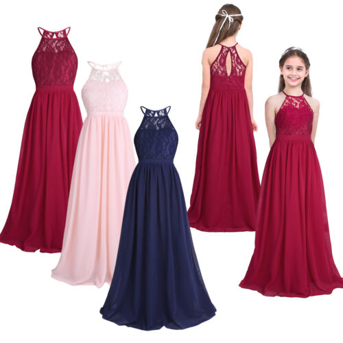 Girls Halter Neck Floral Lace Junior Bridesmaid Dress Party Wedding