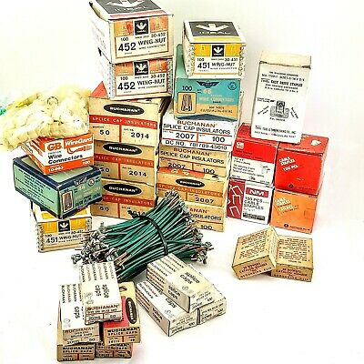 Huge Lot Electrical Supplies Connectors Grounding Wire Wire Nuts Splice Caps Nos