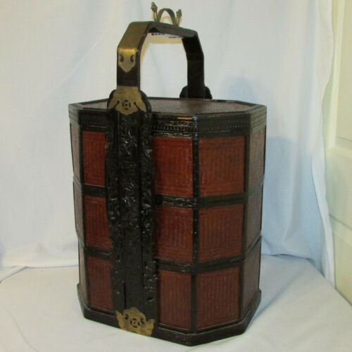 VTG Chinese Lacquered Woven 3 Tier Stacking Wedding Baskets Brass Dragon Handle