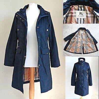 Womens Authentic BURBERRY Mid length Coat Designer Trench Raincoat Size M UK 10