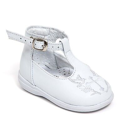 New Baby Girl White Leather High Top shoes For Baptism Christening Size 3 to 8