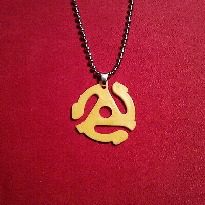 45 Record Adapter Necklace (Vinyl Record 45 RPM Adapter Style Necklace Pendant Charm Music Memorabilia Gift)