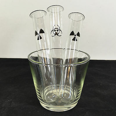 Biohazard + Toxic Radiation Test Tube Shot Glass Cocktail Barware Decor - Tube Shot Glass