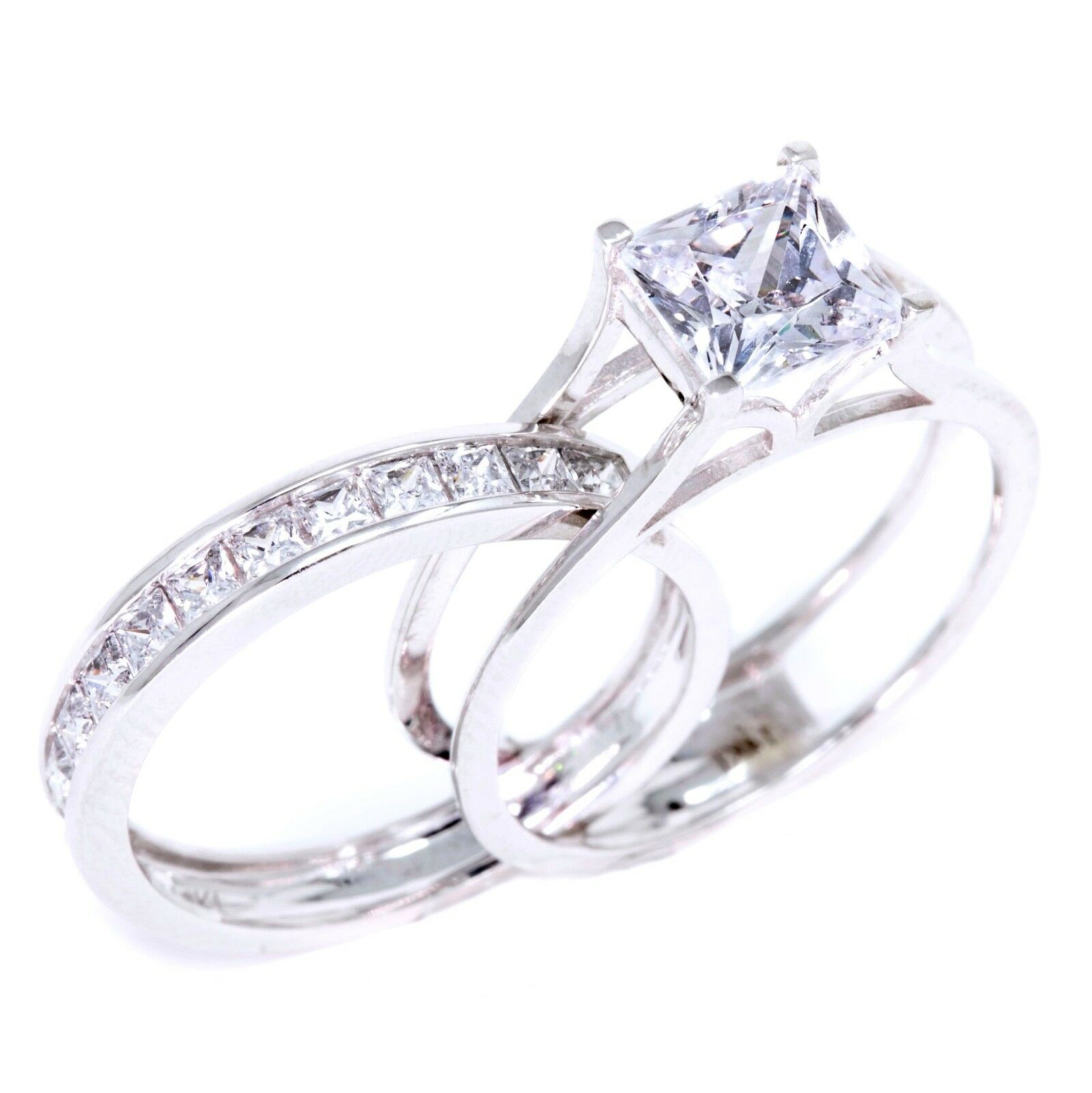 2 Ct Princess Cut 2-Piece Solid 14K White Gold Engagement Wedding Ring Band  Set 140101b58a1