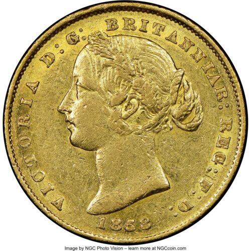 Rare 1858 Sydney Australia Full Gold Sovereign Coin NGC AU50