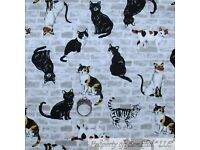 BonEful Fabric FQ Cotton Quilt Bunny Rabbit White Duck Cat Kitty Baby Cottage UK