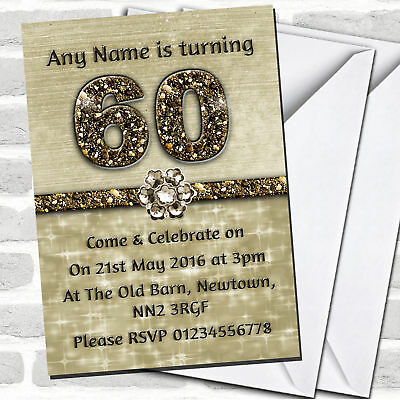 Titanium Gold Sparkly 60Th Birthday Party Invitations](60 Birthday Invitations)