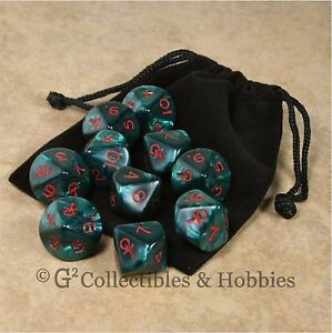 NEW 10 D10 Pearlized Green Ankh RPG Game Dice & Bag Set Vampire WoD D10s
