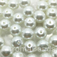 10mm Vetro Perle Finte Bianco 40 Perline Rotonde Creazione Gioielli,artigianato -  - ebay.it