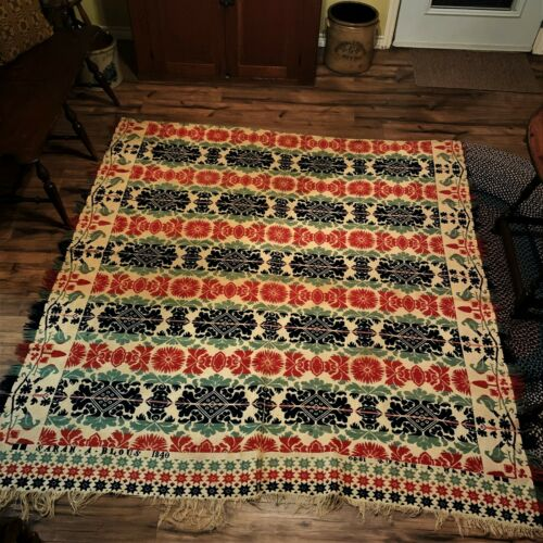 19th Century Coverlet Red, Green & Blue with Sarah A Blous 1840 Pennsylvania