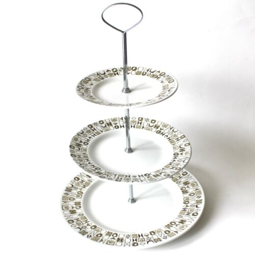 Vintage Barker Brothers 3 Tiered Serving Plate Cake Cookie Mid Century Modern