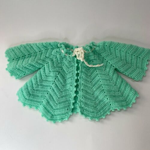 2 Vintage Baby Sweaters in cream and Teal - Hand Crochet