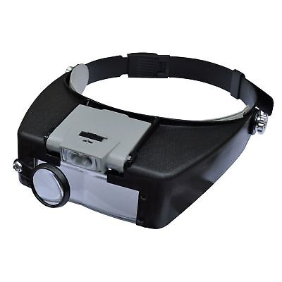 2 LED Stirnlupe 1,5-10x Vergrößerung Kopflupe Lupe Licht Lupenbrille - 5 X Lupe