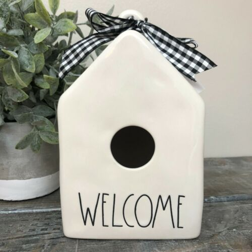 Rae Dunn Welcome Ceramic Square Birdhouse Artisan Collection by Magenta