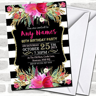 Pink Black & White Striped Floral 60th Birthday Party Invitations](60 Birthday Invitations)