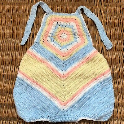 HANDMADE Crochet Knit Knitted TODDLER One Piece Bib Top Overall Shorts Pink Blue