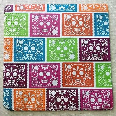 Colorful Sugar Skulls 2 Lunch Napkins Decoupage Paper Crafts Halloween Tissue - Halloween Coloring Paper