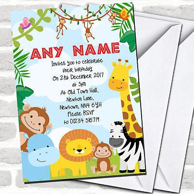 Safari Birthday Party Invitations (Bright Safari Jungle Animals Children's Birthday Party)