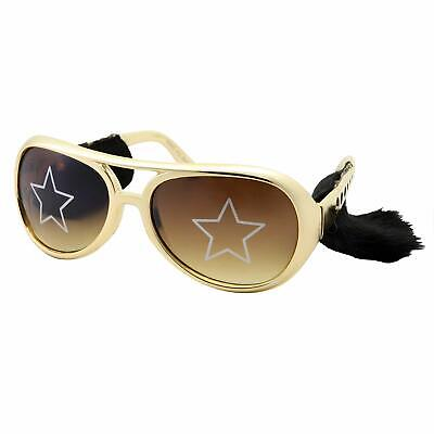 Gold Elvis Costume Sunglasses with Side Burns - Adult Men's Size Presley Rock](Elvis Sunglasses With Sideburns)