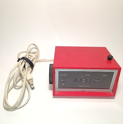 Westclox Red Alarm Flip Clock Vintage 70's Hard To Find HTF Japan Rare Working