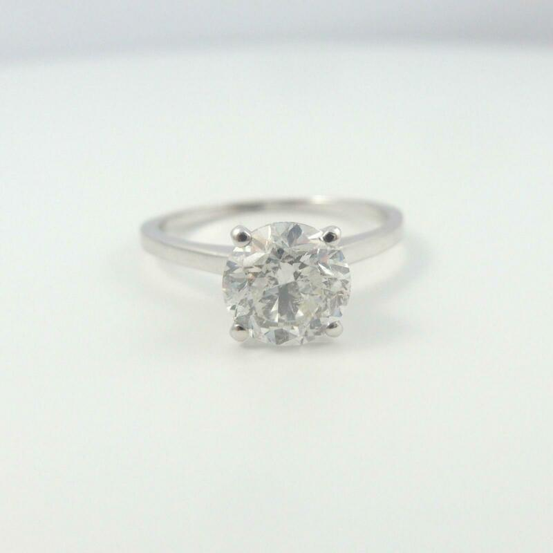 Lady 1 Ct Diamond Ring Round Brilliant Certified 18k White Gold Size 4.5 6 7.5 9
