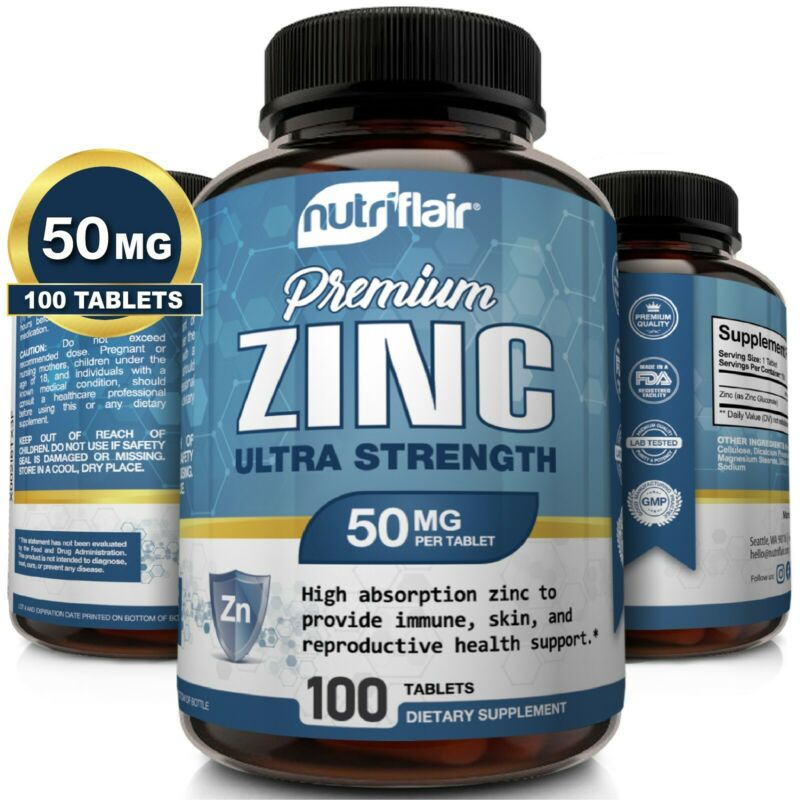 NutriFlair Zinc Gluconate 50mg, 100 Tablets - Immune System Booster & Support