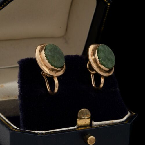 Antique Vintage Art Deco Style 12k Gold Filled GF Nephrite Jade Earrings 4.3g