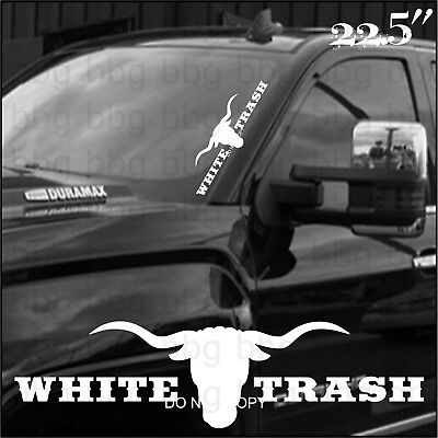 Left Side Banner - White Trash Side Banner Windshield Sticker Decal Truck Window Funny Country Farm