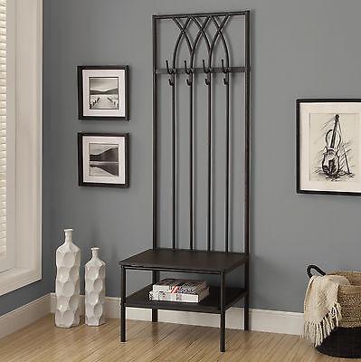 Black Entryway Mini Hall Tree Coat Rack Stand Home Furniture Decor Storage Bench
