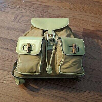 GUCCI Vintage Bamboo Nubuck Backpack - Daypack
