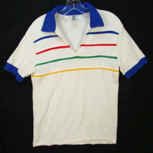 Vintage 70s Kennington Terry Cloth Polo Shirt M Rainbow Stripes Beach V-Neck