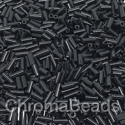 50g glass bugle beads - Black Opaque - approx 4mm tubes, craft, jewellery making