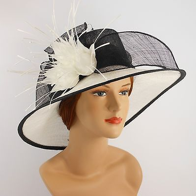 New Woman Church Derby Wedding Sinamay Ascot Dress Hat 2469 Black / Off White