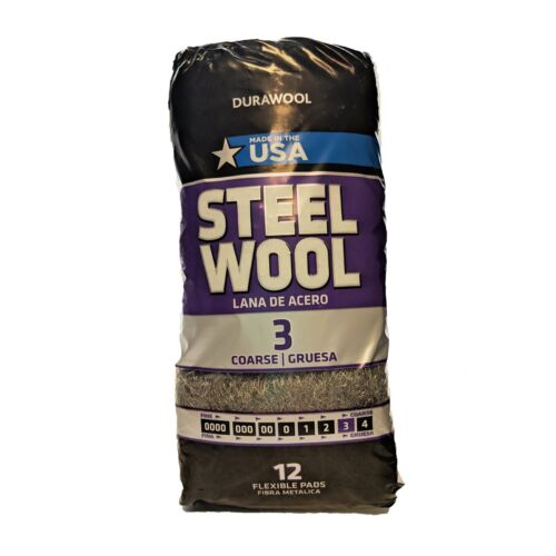 DuraWool Premium Steel Wool #3 Coarse - CASE of 72 Pads (six 12 pad bags)