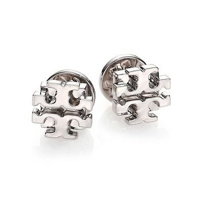 Tory Burch SILVER Small T Logo Stud Earrings