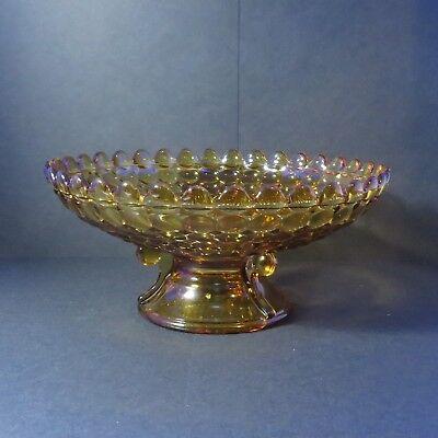 "Adams 1000 Eye 3 1/2"" Tall Compote, Dark Amber Glass - Circa 1891"