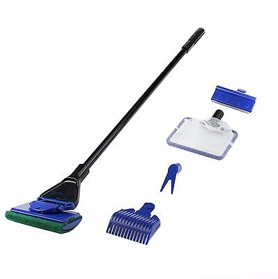 Aquarium Cleaning Set Fish Net + Gravel Rake + Plant Fork + Sponge+Algae scraper