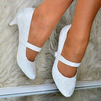 Womens Ivory Mary Jane Bridal Shoe Lace Wedding Low mid Heel Shoes Full toe Size Heel Mary Jane
