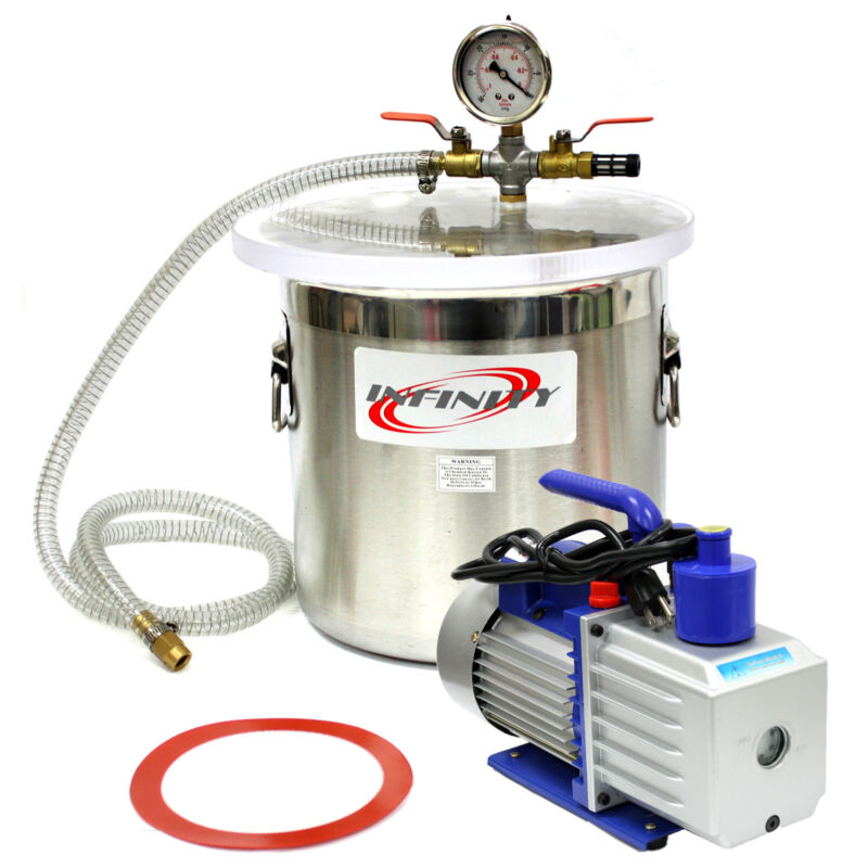 3 Gallon Vacuum Chamber w/ 2.5 CFM Single Stage Pump to Degassing Silicone Kit