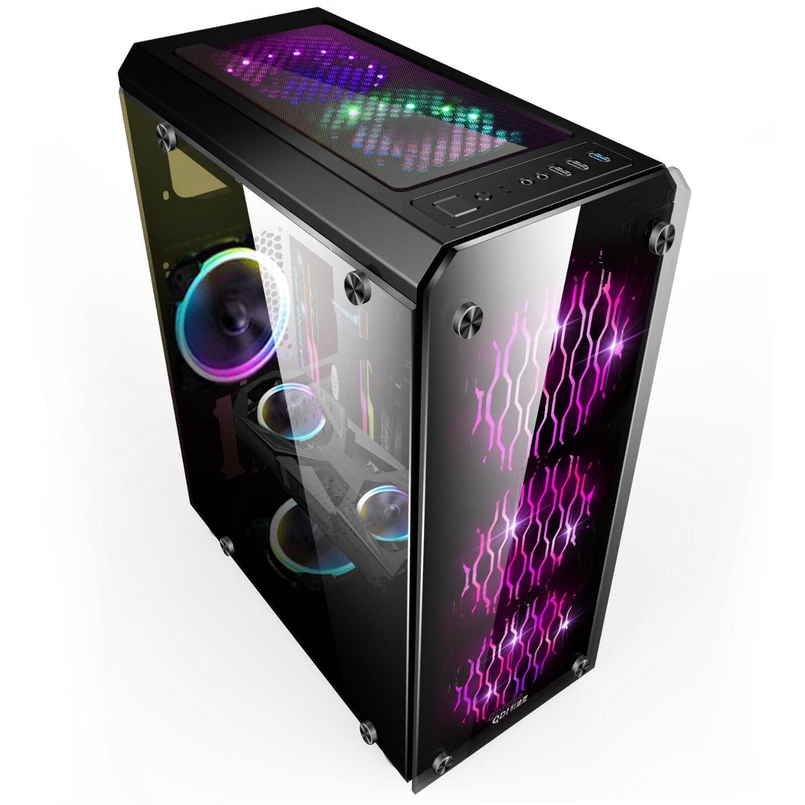 Glas  Pc Gehäuse USB 3.0 ATX ,Micro-ATX,Mini-ITX  Midi-Tower OVP schwarz YHJD--s
