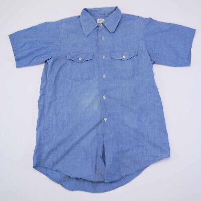 1970s Mens Shirt Styles – Vintage 70s Shirts for Guys Vintage 1970's Lee M.R. Selvedge Chambray Denim Button Up Shirt Sanforized Sz L $40.00 AT vintagedancer.com