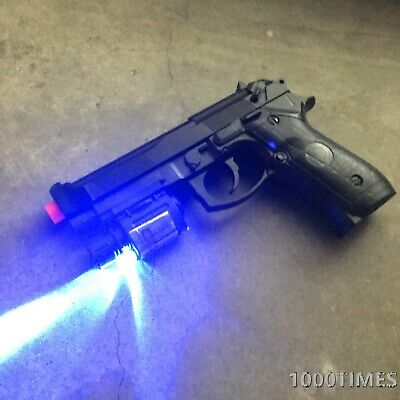 Spring Airsoft Gun Pistol  Black w/ Rail Mounted Laser Flash Light & 1000 BBs