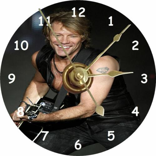 Jon Bon Jovi CD clock printed directly on a cd disc Silent non ticking + stand