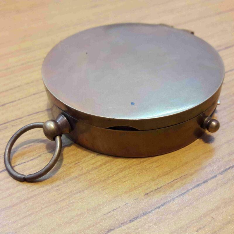 Antique Brass Vintage Pocket Lid Compass Floating Lock Marine Gift