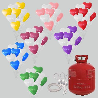 50/100 Herz Luftballons mit Ballongas Hochzeit Helium Verschlüsse Herzballons (Luftballons Mit Herzen)