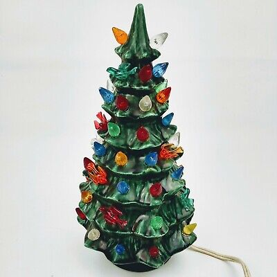 "Vintage Ceramic Christmas Tree 10"" With Base Lights Up"