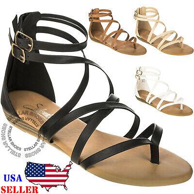 Women's Strappy Crisscross Gladiator Low Flat Heel Summer Wedge Sandals Shoes  - Heel Gladiator Sandals
