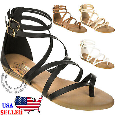 Gladiator Shoes Heels (Women's Strappy Crisscross Gladiator Low Flat Heel Summer Wedge Sandals Shoes)
